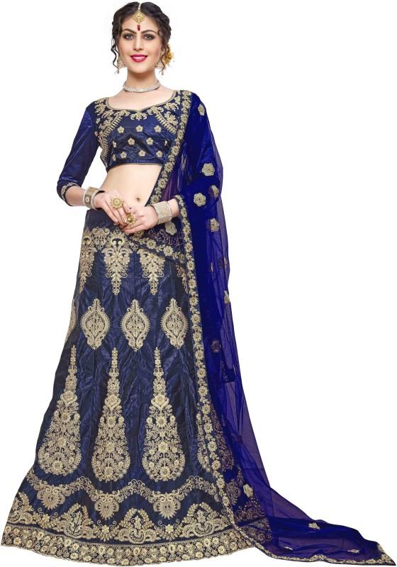 Kunish Embroidered, Embellished Semi Stitched Lehenga, Choli and Dupatta Set(Blue)