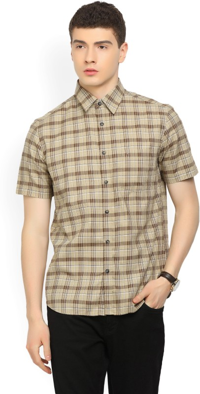 Indian Terrain Mens Checkered Casual Beige Shirt