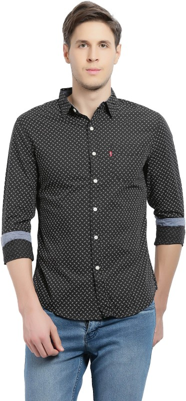 Levis Mens Printed Casual Black, White Shirt