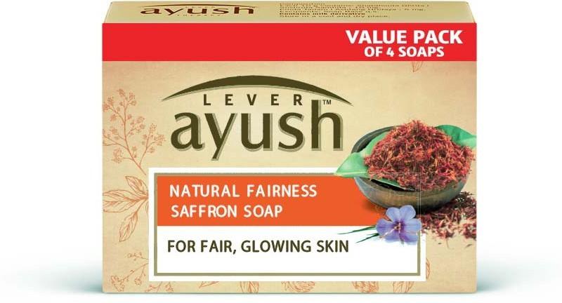 Lever Ayush Natural Fairness Saffron Soap(4 x 100 g)