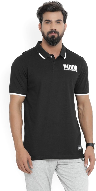 Puma Printed Men Polo Neck Black T-Shirt