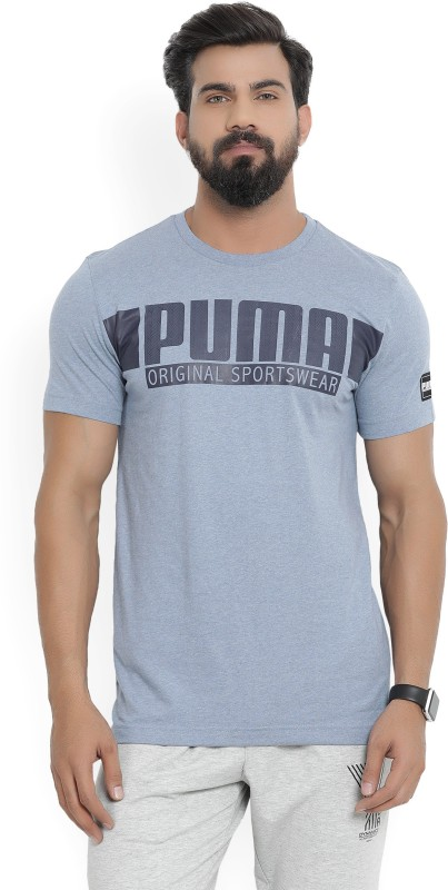Puma Graphic Print Men Round Neck Blue T-Shirt