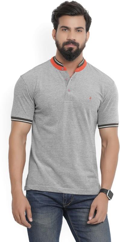 John Players Solid Mens Mandarin Collar Grey T-Shirt