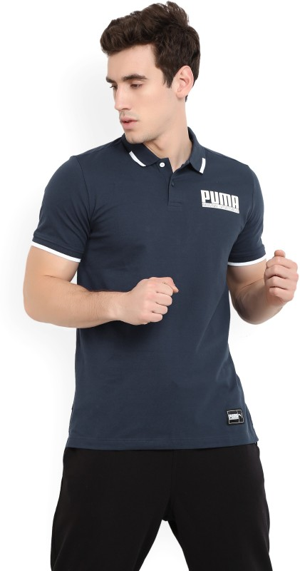 Puma Solid Men Polo Neck Dark Blue T-Shirt