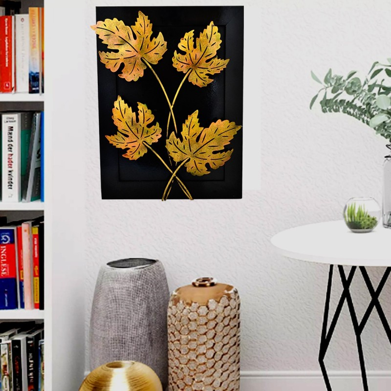 Artlivo Home Decor Iron Handmade Leaf Design Natural Theme Decorative Wall Hanging Showpiece Gift 20 * 15 * 3 inches Diwali Decoration Items for Home(50 cm X cm 5, Black, Golden)