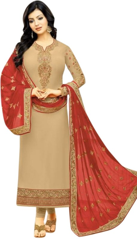 Style Amaze Georgette Embroidered Semi-stitched Salwar Suit Dupatta Material