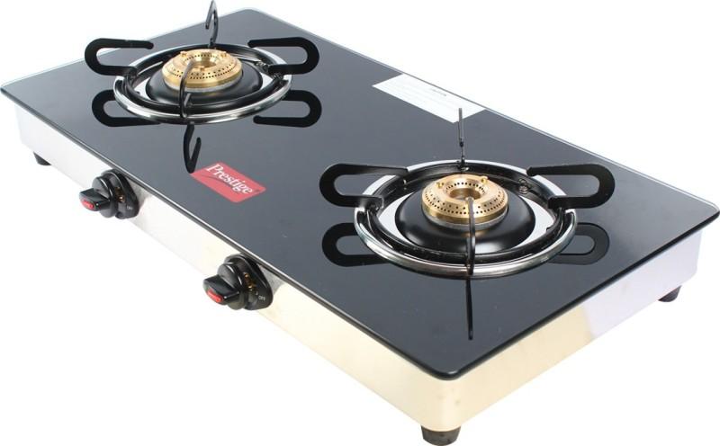 Prestige 2 Burner Marvel Top Glass Manual Gas Stove(2 Burners)