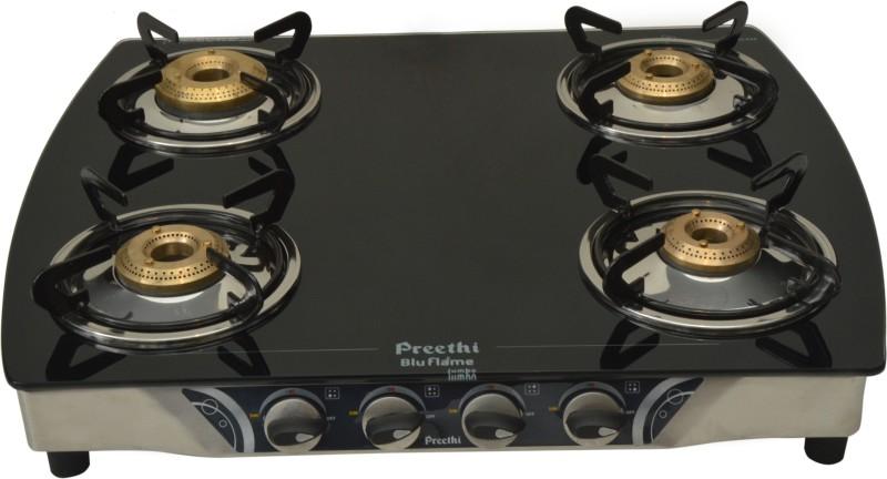Preethi Blu Flame-Jumbo 4 Burner (GTS 106) Glass Manual Gas Stove(4 Burners)
