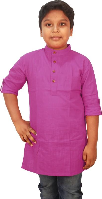 SHOPETHNIC Boys Solid Straight Kurta(Purple)