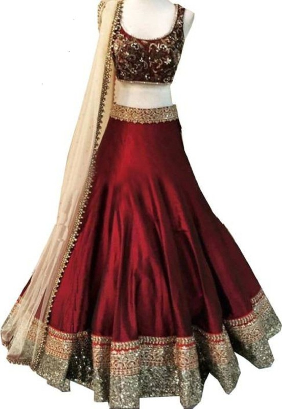 TANVI FASHION Embroidered Lehenga, Choli and Dupatta Set(Maroon)