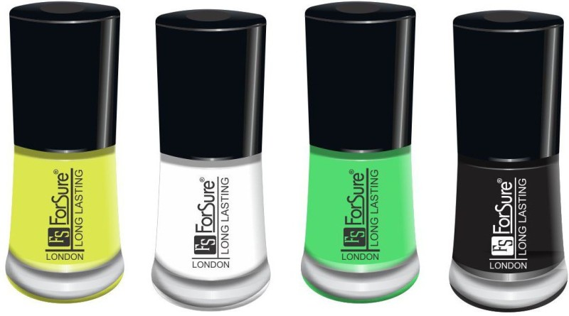 forsure matte long lasting professional nail polish set of 4 neon yellow, black, white, neon green(Pack of 4)
