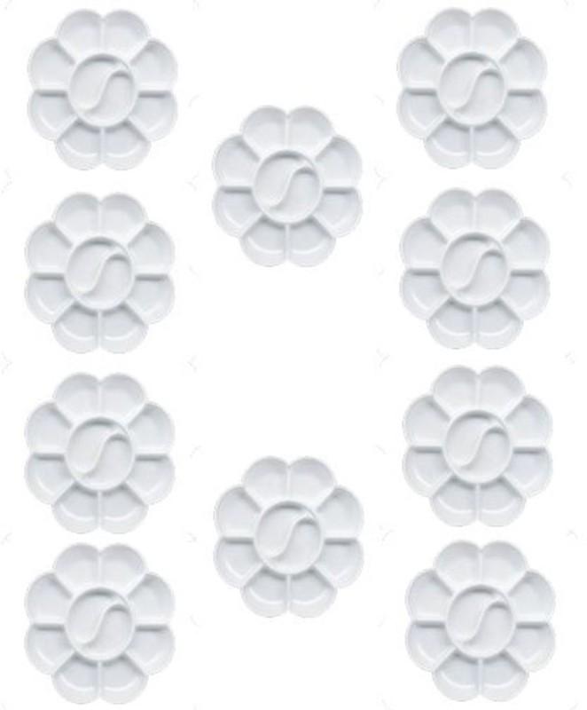 Isomars Colour Mixing Palette - Flower Small Set of 10 Plastic 10 Paint Wells Palettes(Set of 10, White)