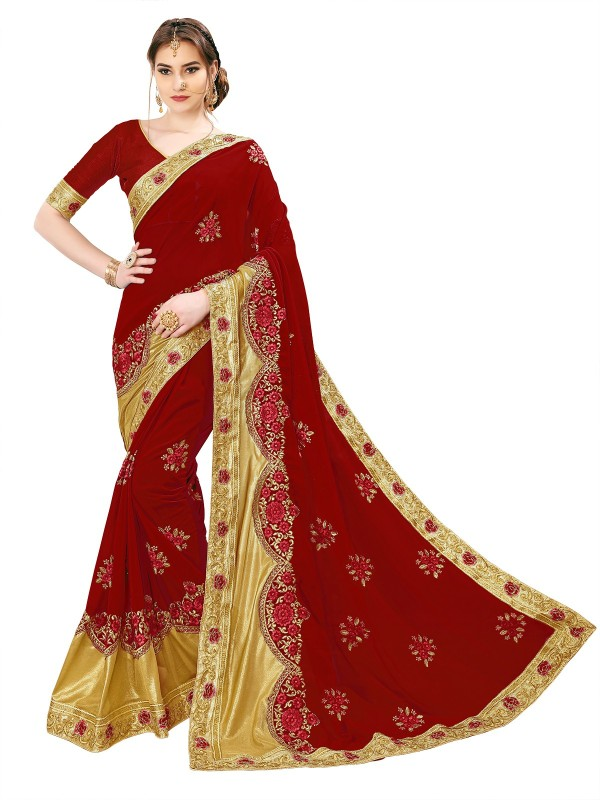 Sariya Embroidered, Embellished Bollywood Georgette, Shimmer Fabric Saree(Maroon, Gold)