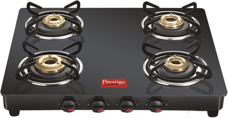 Prestige (GTM04) 4 Burner (Black) Glass Manual Gas Stove(4 Burners)