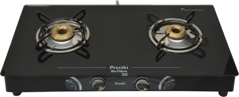 Preethi Blu Flame-Gleam 2 Burner (GTS102) Glass Manual Gas Stove(2 Burners)