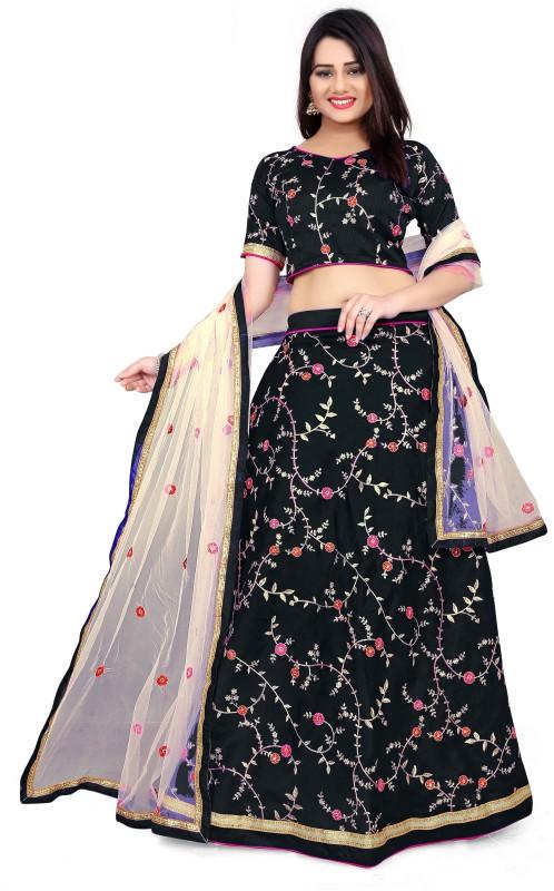 Fabcartz Embroidered Lehenga Choli(Black)