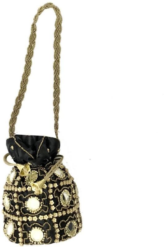 Purpledip Potli Bag (Clutch, Drawstring Purse) For Women With Intricate Gold Thread & Sequin Embroidery Work (Black Color,11269) Potli(Black)