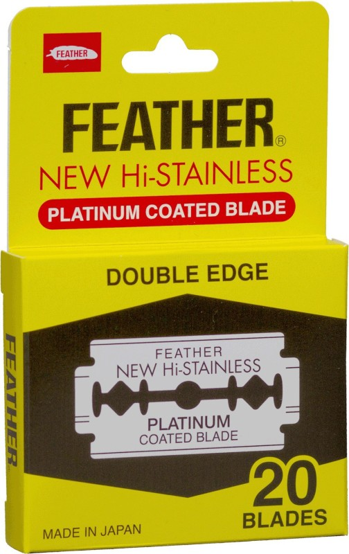 Feather Made in Japan Platinum Coated Double Edge Razor Blades(Pack of 20)