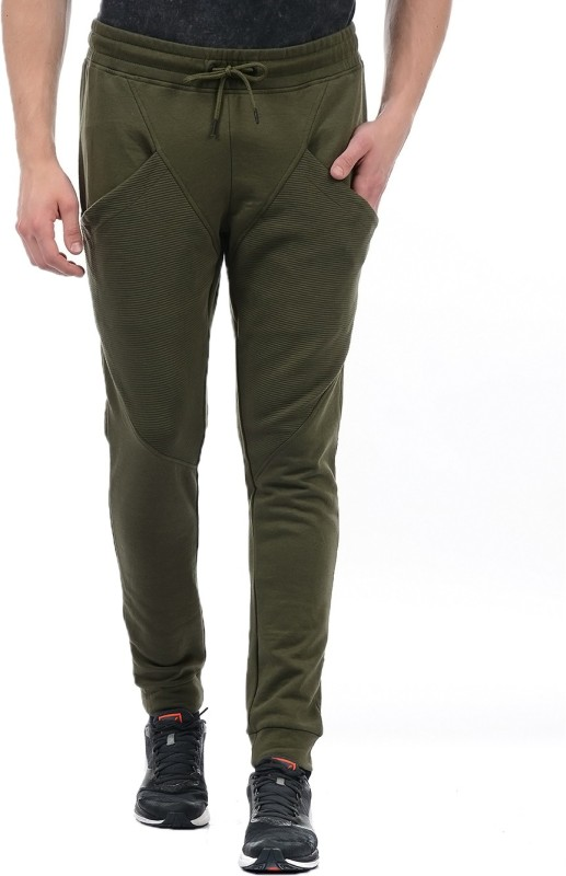 Jack & Jones Solid Men Green Track Pants