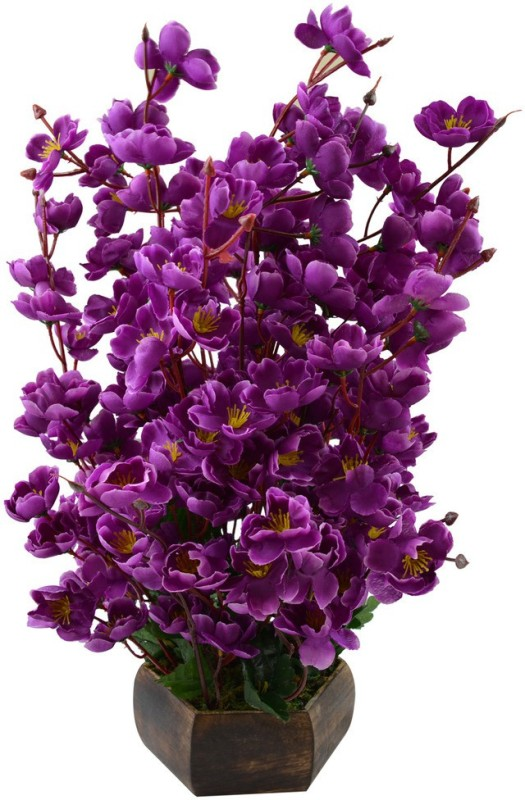 Fancymart Classic Purple Wild Flower Artificial Flower  with Pot(20 inch, Pack of 1)