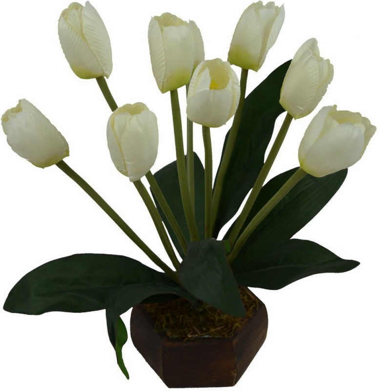 Fancymart FP-0790-618 Multicolor Tulips Artificial Flower  with Pot(5 inch, Pack of 1)