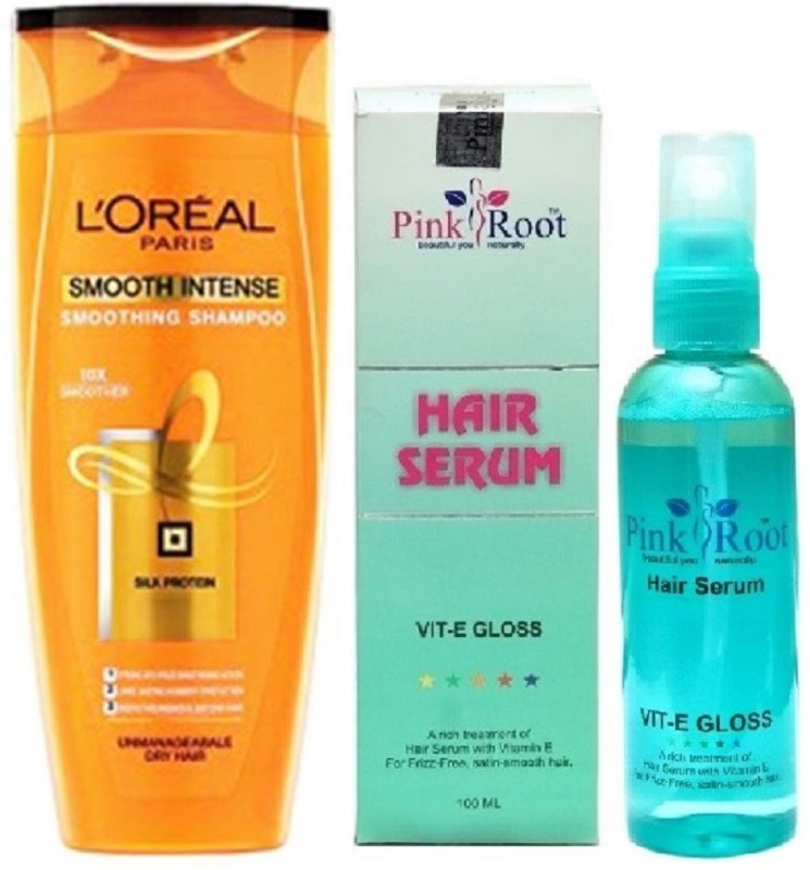 Pink Root Hair Serum 100ml, L'OREAL PARIS SHAMPOO 175ML SMOOTH INTENSE SMOOTHING SHAMPOO(Set of 2)