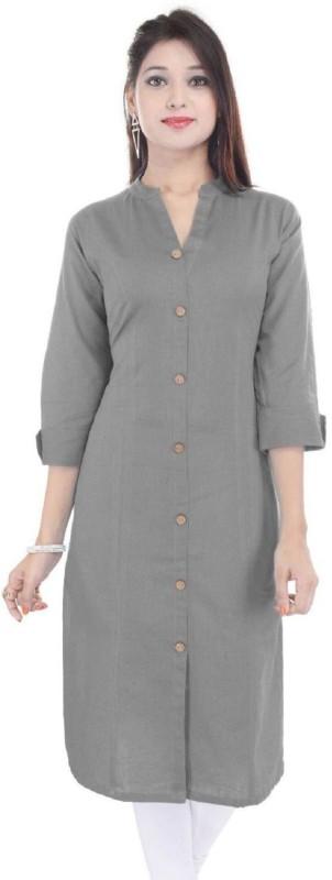 Fashionmandi Casual Solid Women's Kurti(Grey)