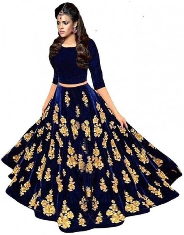 F Plus Fashion Embroidered Semi Stitched Lehenga Choli(Blue, Gold)