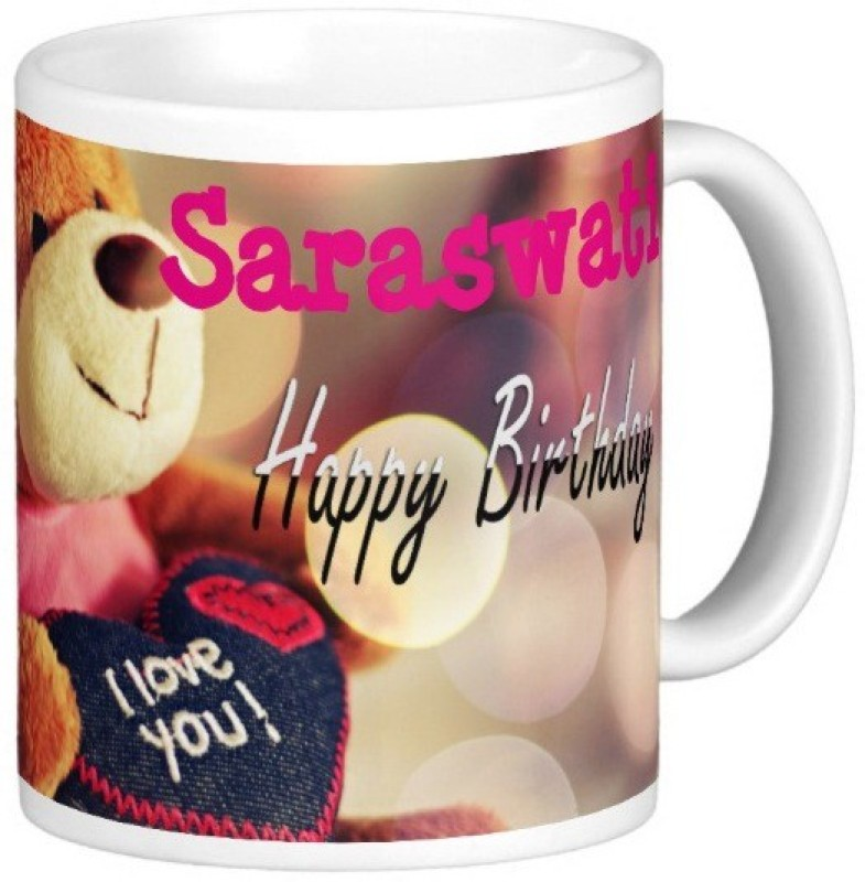 Exoctic Silver Happy Birthday SARASWATI Ceramic Mug(330 ml)