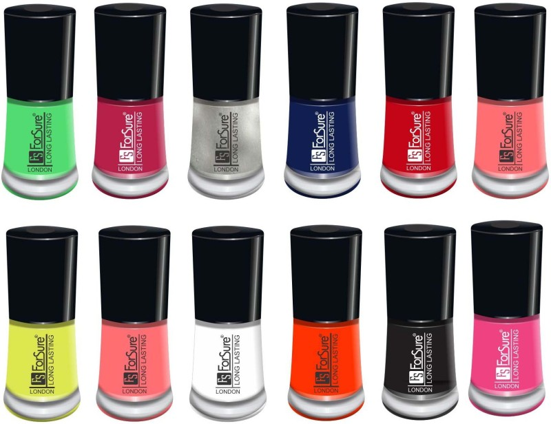 forsure matte long lasting professional nail polish set of 12 light pink, fire red, neon yellow, peach, black, white, passion pink, navy blue, hot peach, orange, neon green, silver(Pack of 12)