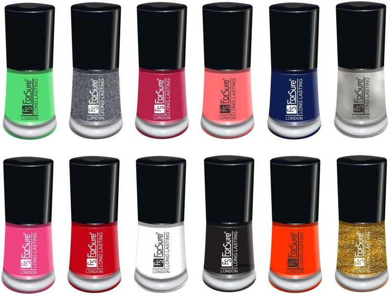 forsure matte long lasting professional nail polish set of 12 glitter dazzling, light pink, mania pink, fire red, peach, neon yellow, white, passion pink, hot peach, neon green, silver, glitter golden(Pack of 12)
