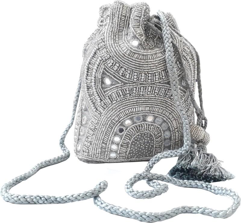 HimalayaHandicraft Potli Batwa Pouch Bag with Metal Beadwork Gift For Women Potli Potli(Silver)