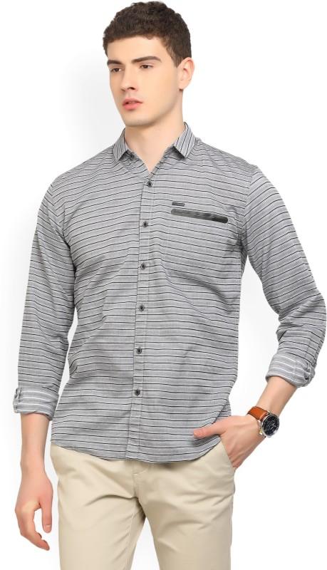 Wrangler Men Striped Casual Grey, Black Shirt