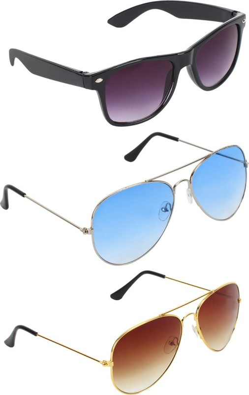 Abner Wayfarer, Aviator, Aviator Sunglasses(Black, Blue, Brown) image