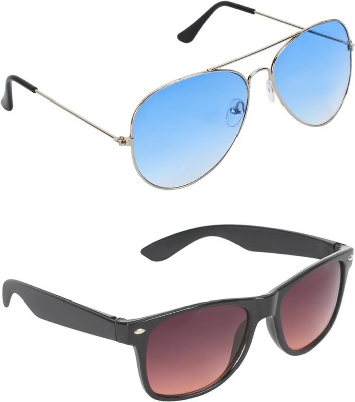 Abner Aviator, Wayfarer Sunglasses(Blue, Brown) image