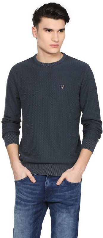 Allen Solly Self Design Crew Neck Casual Men Blue Sweater