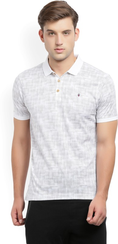 LP Louis Philippe Printed Mens Polo Neck White, Grey T-Shirt