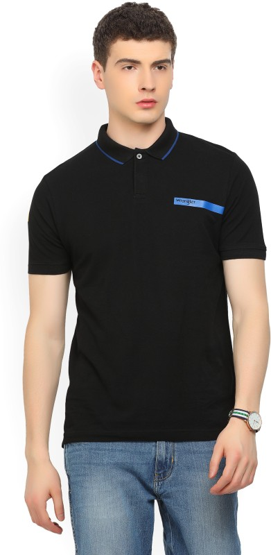 Wrangler Solid Mens Polo Neck Black T-Shirt