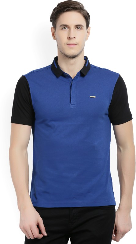 Wrangler Solid Men Polo Neck Black, Blue T-Shirt