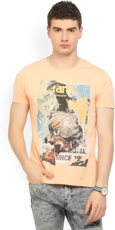 Wrangler Printed Men Round Neck Orange T-Shirt