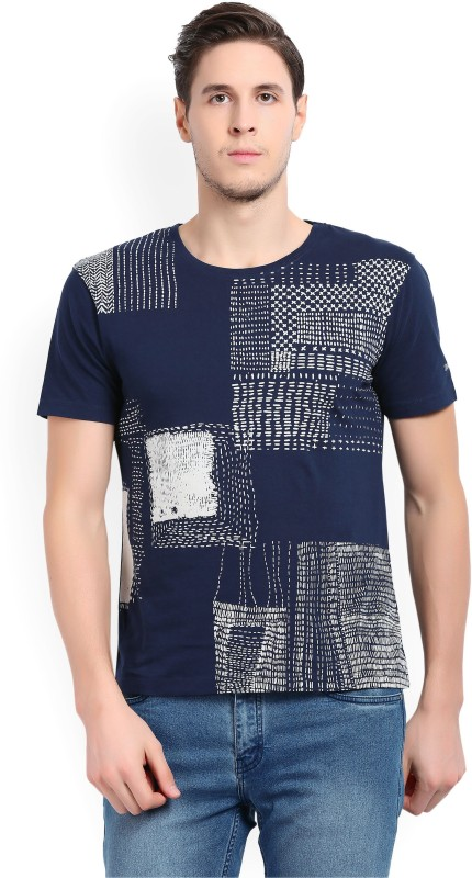 Wrangler Printed Mens Round Neck Blue T-Shirt