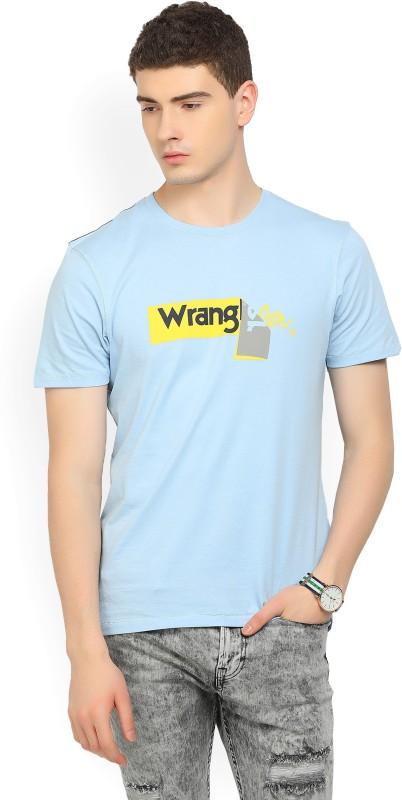 Wrangler Printed Mens Round Neck Light Blue T-Shirt