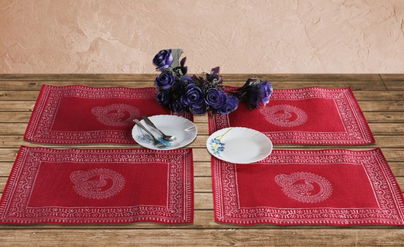 Rajrang Rectangular Pack of 4 Table Placemat(Red, Jute)