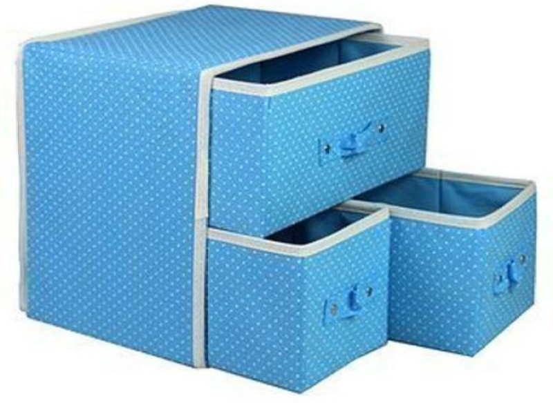 Expeditious Foldable Fabric Storage Box Organizer, 3 Drawer, multi color Closet Divider (Fabric, Plastic) Drawer Divider(Fabric)