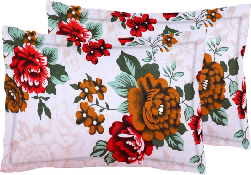 IWS Floral Pillows Cover(Pack of 2, 43 cm*68 cm, Red, Brown, White,...