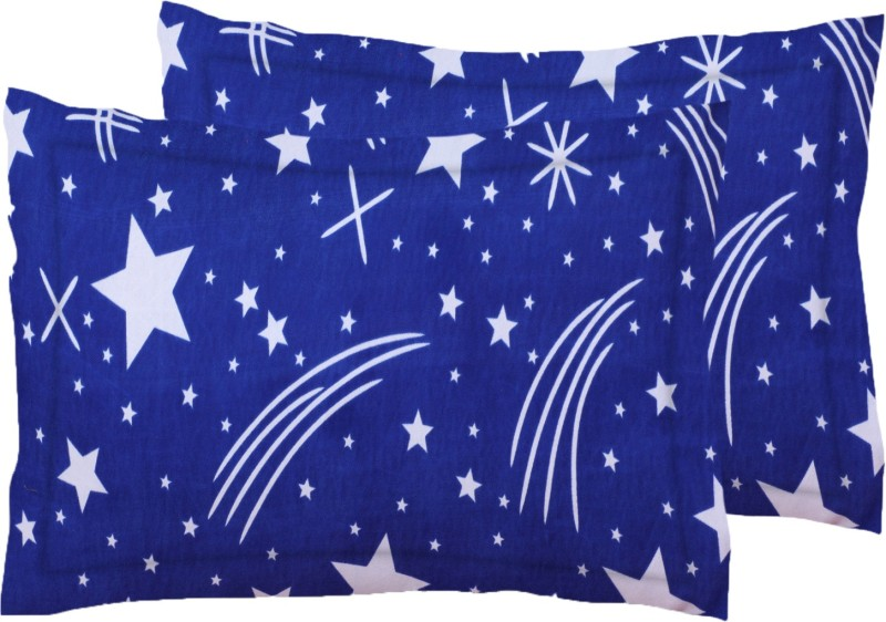 IWS Printed Pillows Cover(Pack of 2, 43 cm*68 cm, White, Blue)