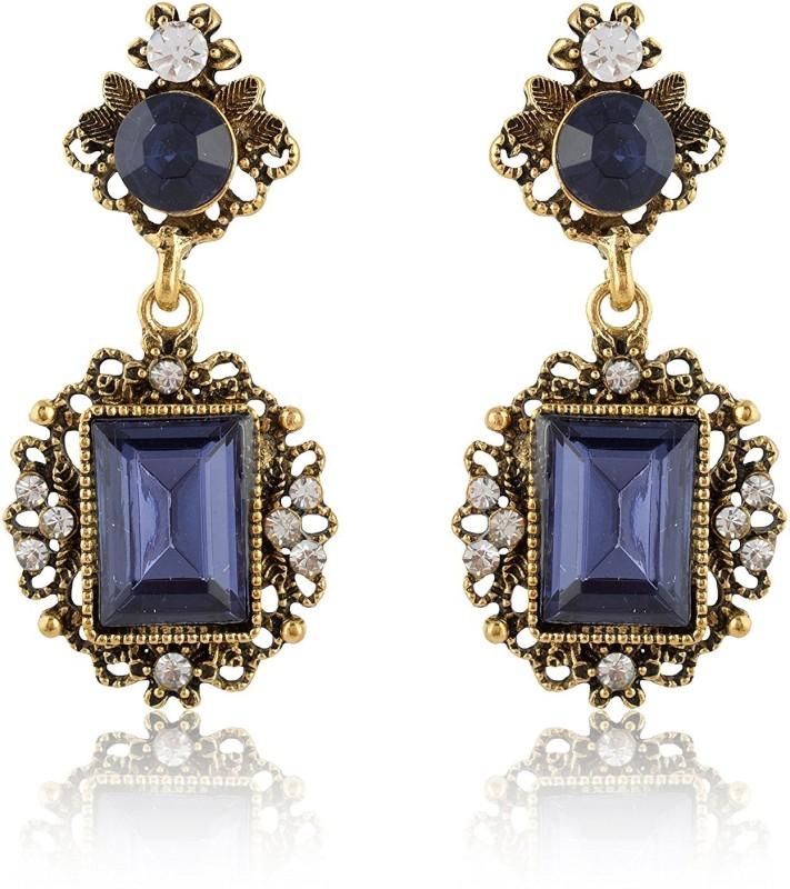 Moonlit Design Crystal Water Drop Earrings Fashion Jewelry For Women Blue Rhinestone Dangle Earring luxury Wedding Jewelry Hot blue rectangle drop round vintage look bronze studs Alloy Drops & Danglers