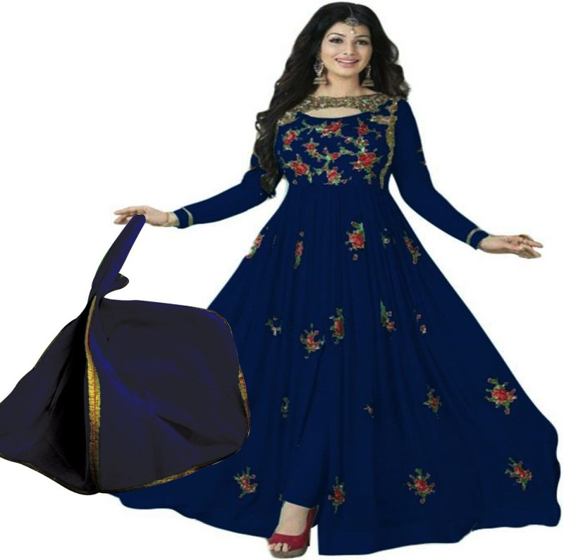 Pervious Fashion Faux Georgette Embroidered Semi-stitched Salwar Suit Dupatta Material