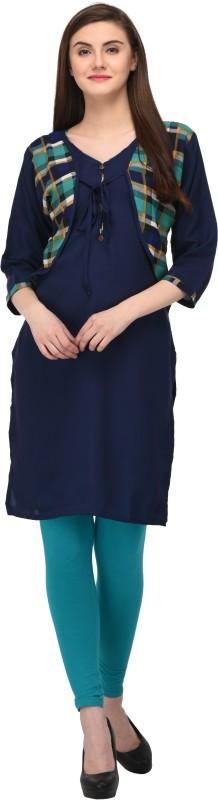 Drapes Casual Printed Women's Kurti(Blue)