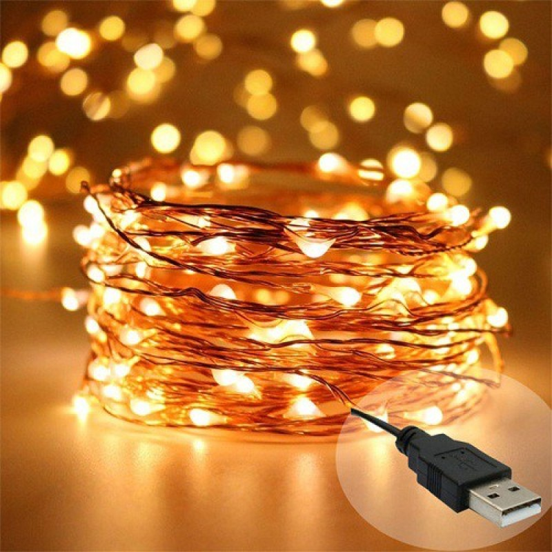 Copper String LED light 10 MTR 100 LED USB Operated Decorative Lights 393.7 inch Yellow Rice Lights(Pack of 1)